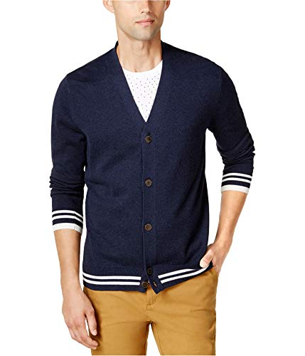 Tommy Hilfiger Mens Tacoma Tipped Cardigan Sweater Blue XS - Tipped Cotton Cardigan