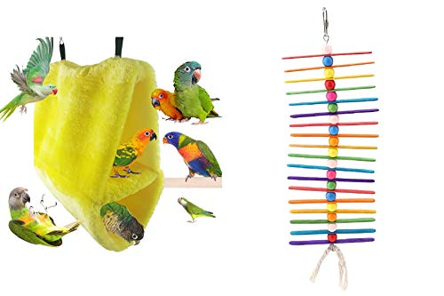 TKM Birds Parrot Special Bundle, Contains:One Warm Double-Layer Velvet Birdhouse (Yellow),and Popsicle Sticks Bird Chewing Toy