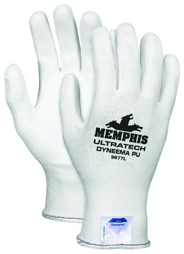 Memphis Glove 9677S UltraTech Dyneema 13-gauge PU Coating Washable Gloves, White, Small, - Dyneema Tech Ultra Gloves