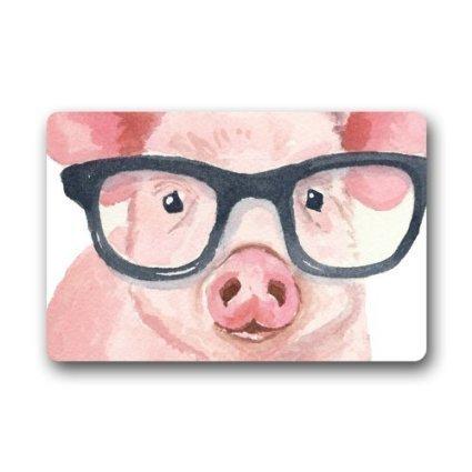 Custom Doormat Funny Pig Wearing Glasses Door Mat Rug Indoor