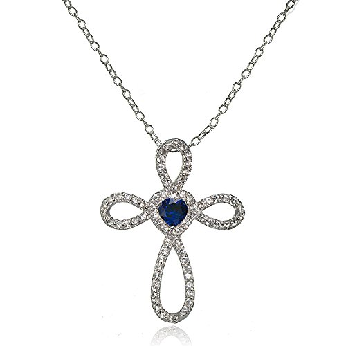 - LOVVE Sterling Silver Created Blue Sapphire & White Topaz Heart Infinity Cross Necklace