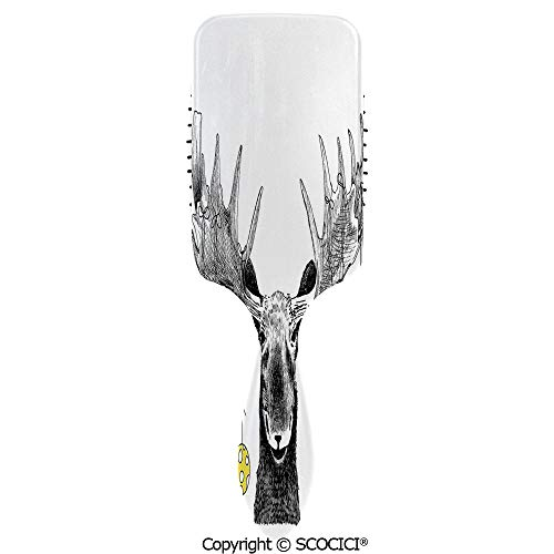 Air Cushion Comb No Knot Anti Static Christmas Moose with Xmas Ornaments Balls Hanging from Horns Funny Noel Sketch Art for Man Women Curly Wet Frizzy Thick Fine Coarse Hair Massage Volume ()