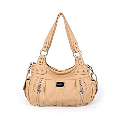 Angelkiss 2 Separated Compartments Large Capacity Purses and Handbags Soft Leather Shoulder Bags AK19244/2 (Beige)