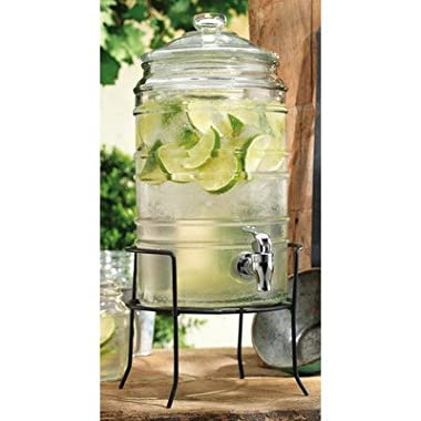 Home Essentials Del Sol 1.5 Gallon Ribbed Drink Dispenser w/ Stand