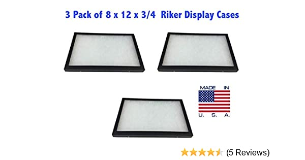 3 Pack of 12 x 16 x 3//4 Riker Display Cases Boxes for Collectibles Jewelry /&More