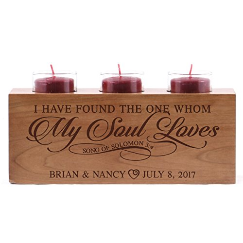 LifeSong Milestones Personalized wedding anniversary candle holder for him her engraved cherry wood engagement ideas for boyfriend or girlfriend I have found the one by (I have found)