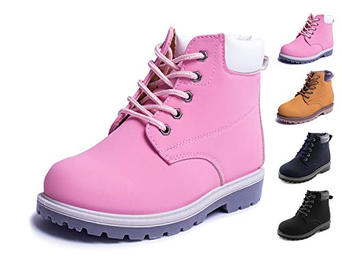 Jabasic Kids Lace-Up Ankle Boots Boy Girl Waterproof Martin Shoes (10 M US Toddler, Pink) -
