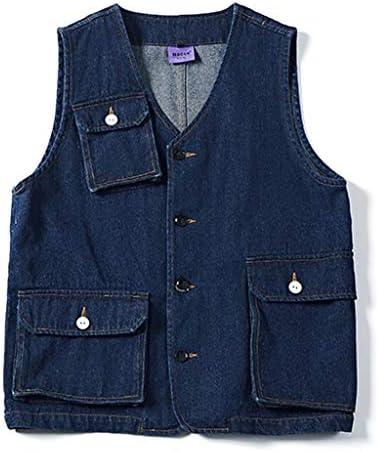 ツーリングベストデニム生地男性と女性のベストレトロな立体形状カウボーイベストファッションベスト (色 : Dark blue, サイズ さいず : Xl xl)