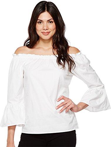 Karen Kane Women's Convertible Off the Shoulder Top White Shirt