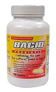 Bacid with Lactobacillus Acidophilus, Probiotic | 100-Caplets Bottles