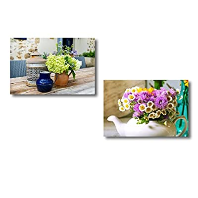 Canvas Wall Art - French Still Life Outdoor with Flowers on The Garden Table| Modern Home Art 2 Panel Canvas Prints Giclee Printing & Ready to Hang - 24