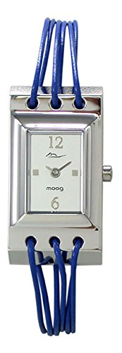 Moog Paris - Filament - Women's Watch with silver dial, blue strap in Genuine calf leather, made in France - M41452-006