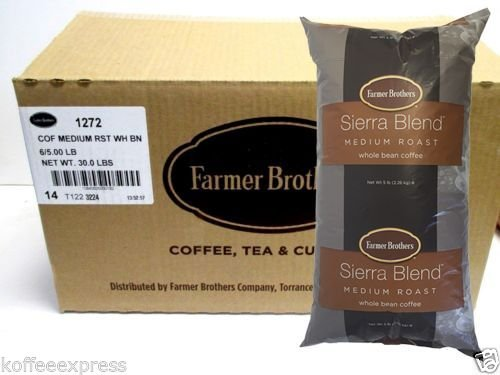 Farmer Brothers Sierra Blend Medium Roast Whole Bean Coffee (6 bag/5 lbs) by Farmer Brothers (Image #1)