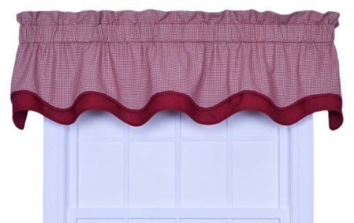 - Ellis Curtain Logan Gingham Check Print Bradford Valance Window Curtain, Red
