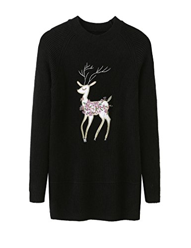 General Autumn Winter Christmas Elk O Neck Long Sleeved Women Pullovers Sweater Embroidery - Twelve Hours Oaks