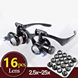 2.5X 4X 6X 8X 10X 15X 20X 25X Multi-Power Double LED Lights Magnifier Eye Glasses Watch Repair Loupe Jeweler Magnifying Glass