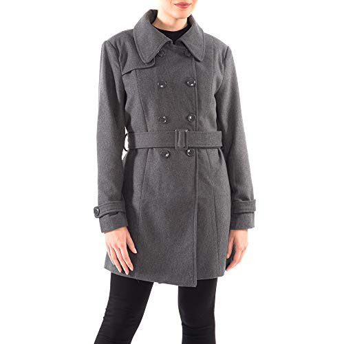 alpine swiss Keira Womens Gray Wool Double Breasted Belted Trench Coat ()