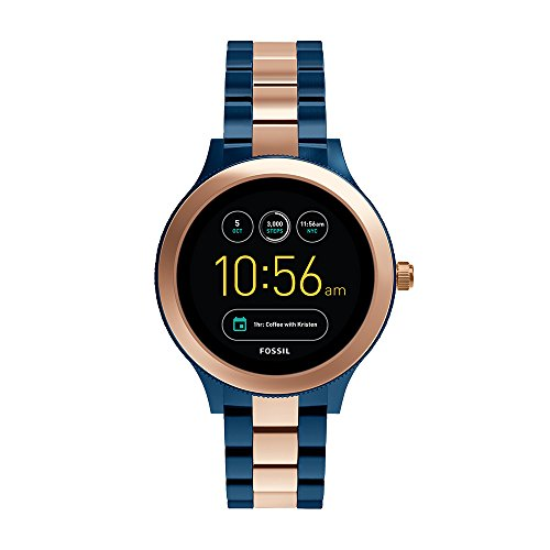 Fossil Q Women's Gen 3 Venture Two-Tone Stainless Steel Smartwatch, Color: Rose Gold-Tone, Blue (Model: FTW6002)