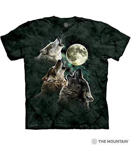 The Mountain Men's Three Wolf Moon Short Sleeve T-Shirt,Dark Green,Small