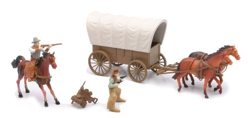 NewRay Big Country Western Cowboy Set with Covered Wagon, Horses, Cowboys Play Set]()