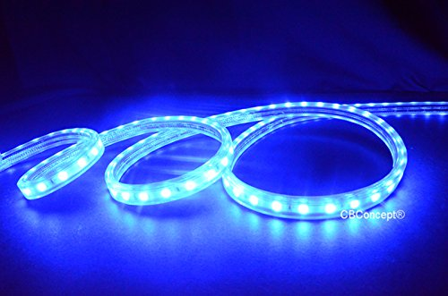 CBConcept UL Listed, 120 Feet,Super Bright 32850 Lumen, Blue, Dimmable, 110-120V AC Flexible Flat LED Strip Rope Light, 2190 Units 5050 SMD LEDs, Waterproof IP65, Accessories Included, Size: 0.57 Inch Width X 0.33 Inch Thickness- [Christmas Lighting, Indo by CBconcept