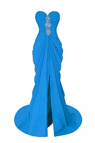 Kleid Women's Split Abendkleider Beaded Meerjungfrau Ballkleid Fanciest Lang Evening Sexy Formelle Blue vOBSH6wW
