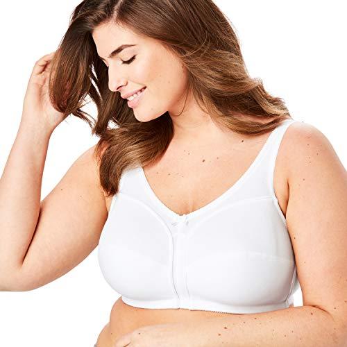 Comfort Choice Women's Plus Size Cotton Wireless Bra - White, 54 B