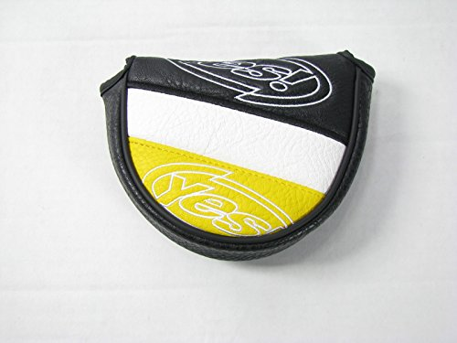 Yes! Mallet Putter Headcover Velcro Closure BLACK/WHITE/YELLOW (5