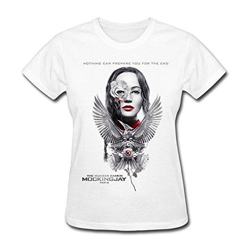 Konoyie Women's The Hunger Games Mockingjay Poster T-Shirt - Cool T-shirt White US Size XXL
