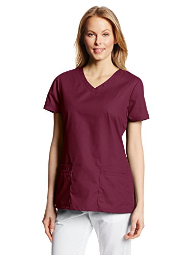 Dickies Women's EDS Signature Scrubs Jr. Fit V-Neck Top, Wine, Small