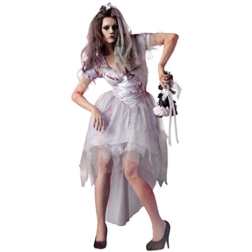 King Party 214914 Zombie Bride Costume - Blanc - X-Large - 12-14
