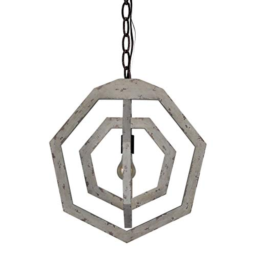DOCHEER Vintage Distressed White Metal and Wood Chandelier 1-Light Farmhouse Rustic Wooden Chandeliers Convertible Hanging Ceiling Mount Lamp Fixtures