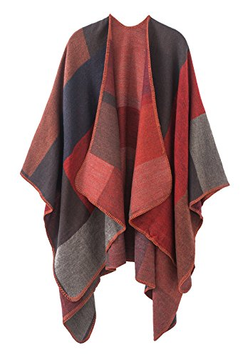 Urban CoCo Women's Color Block Shawl Wrap Open Front Poncho Cape (Series 1-red)