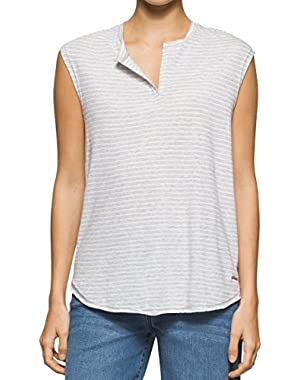 Calvin Klein Womens Small Split-Neck Striped Knit Top Gray S