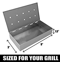 Cave Tools Smoker Box for BBQ Grill Wood Chips - 25% THICKER STAINLESS STEEL WON'T WARP - Charcoal & Gas Barbecue Meat Smoking with Hinged Lid - Best Grilling Accessories & Utensils Gift for Dad by by Cave Tools