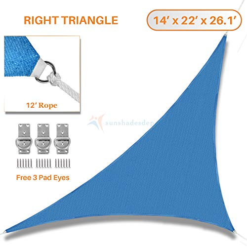 TANG Sunshades Depot 14 x 22 x 26.1 Sun Shade Sail Right Triangle Permeable Canopy Ice Blue Custom Commercial Standard