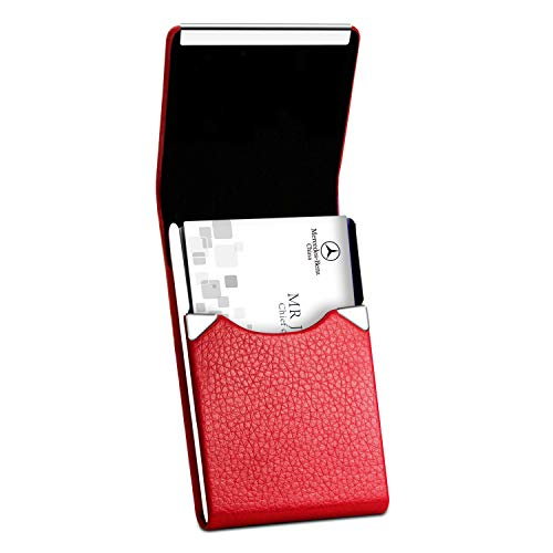 Padike Leather Business Card Holder for Women Leather Stainless Steel Business Card Case with Magnetic Shut (Red)