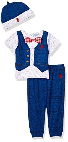 U.S. Polo Assn. - Conjunto de playera, accesorio y pantalón para bebé, Polka Dot Bow Tie With Cap Royal, 6-9Meses