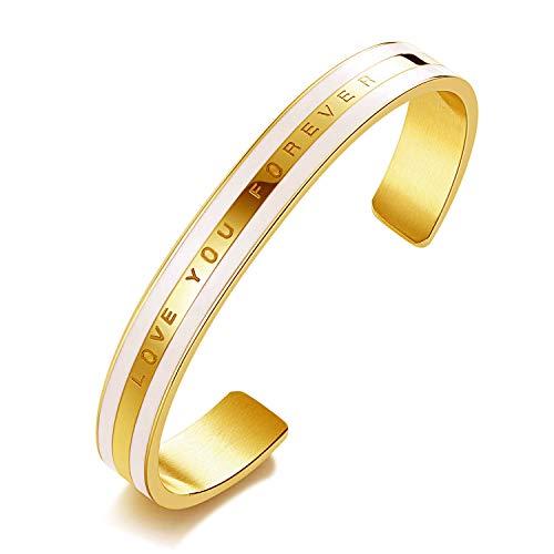 XOYOYZU Cuff Bangle Bracelet for Women Girls Teens 14K Rose Gold Plated Stainless Steel Bracelets Jewelry for Birthday (Gold)