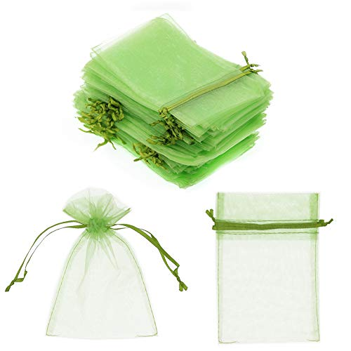 "SumDirect 100Pcs 4""x6"" Sheer Drawstring Organza Jewelry Pouches Wedding Party Christmas Favor Gift Bags (Green)"