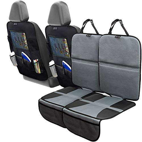 Car Seat Protector Set with Tablet Holder Kick Mat Cover (4 Pack) Thickest Padding - 2 Sets of Car...