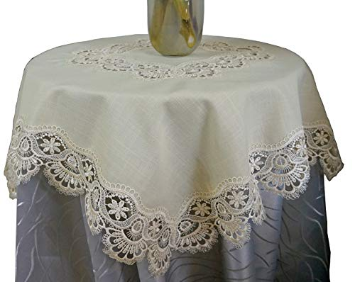 Elegent Lace Table Topper,Lace Border for Wedding Party Home Dinner Room Table Top Decoration, Square 34inch,Light Ecru (Border Table Topper)