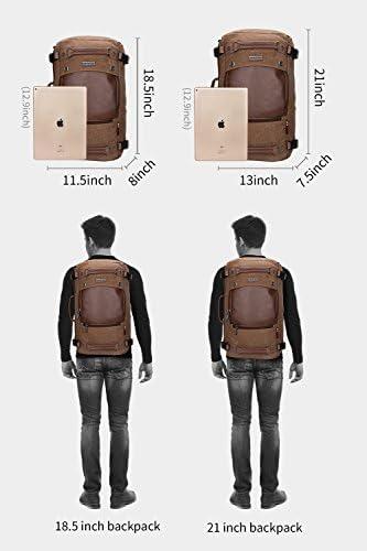 WITZMAN Men Travel Backpack Canvas Rucksack Vintage Duffel Bag