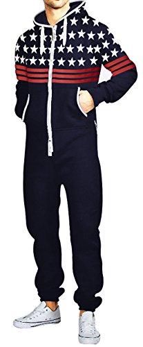 SKYLINEWEARS Men's Fashion Printed Onesie Jumpsuit 3 Red Stripes USFlag Navy S]()