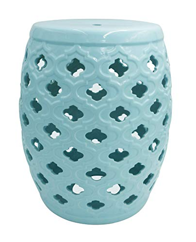 """Ravenna Home Moroccan-Pattern Ceramic Garden Stool or Side Table, 16""""H, Light Blue from Ravenna Home"""