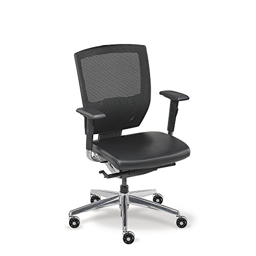 Mid-Back Mesh Chair with Memory Foam Black Leather Seat and Aluminum Frame, NBF Signature Series Arris Collection
