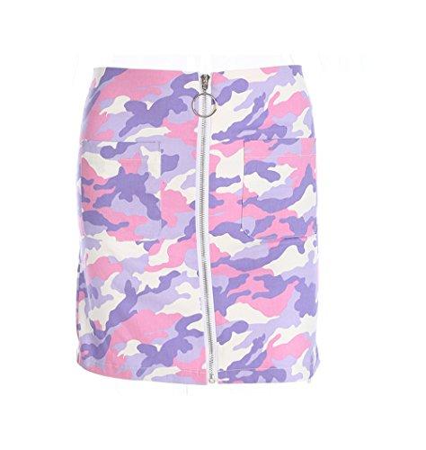 FuweiEncore Jupe Courte pour Femme Jupe Crayon Extensible Camouflage Jupes Zipper avec Poche Violet