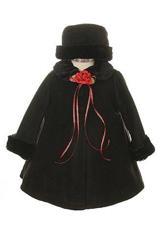 Girl's Cozy Fleece Long Sleeve Cape Jacket Coat - Black Infant L 12-18 (Twelve Coat)