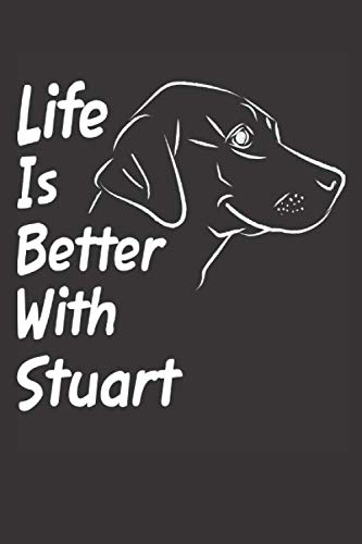Life Is Better With Stuart: Blank Dotted Male Dog Name Personalized & Customized Labrador Notebook Journal for Women, Men & Kids. Chocolate, Yellow & ... & Christmas Gift for Dog Lover & Owner. (White Collar Calendar)
