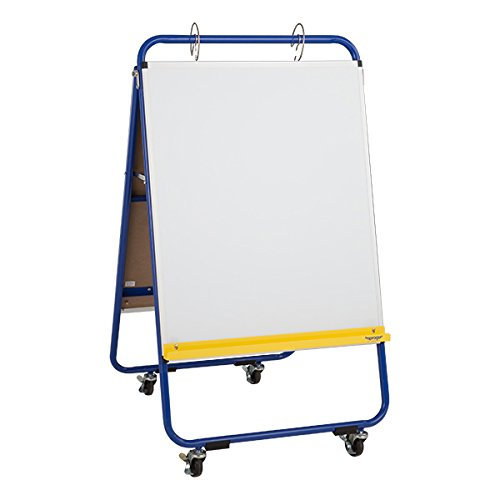 Sprogs SPG-051-SO Mobile Preschool Dry Erase Flannel Easel,4 Locking Casters, Blue. by Sprogs